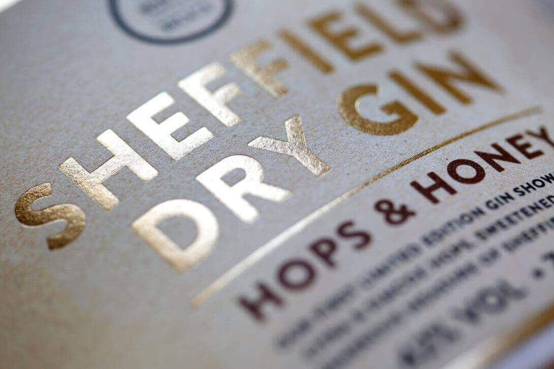 Sheffield Dry Gin Heissfolie gold praegeetiketten