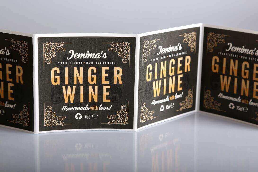 Haftetiketten Klebeetiketten drucken Gingerwine Etiketten veredelt metallic