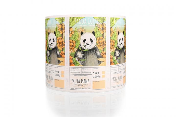 Nachhaltige Etiketten Panda Coffee