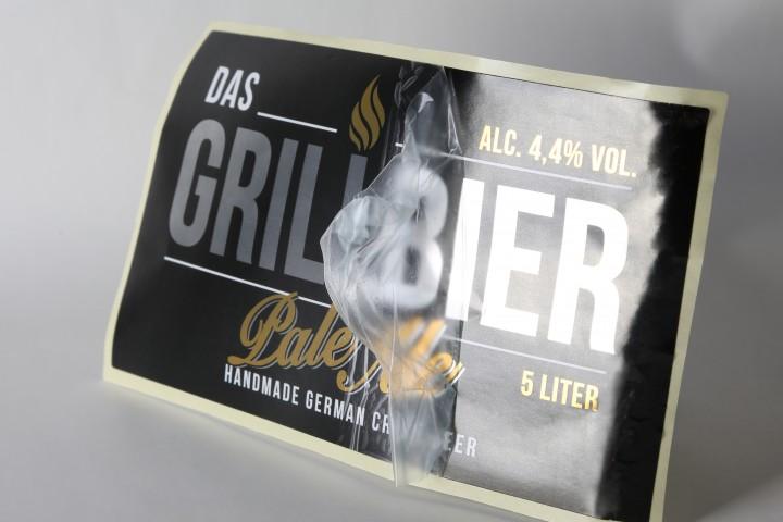 Grillbier Rollenetikett Folienkaschierung Schutzlaminat