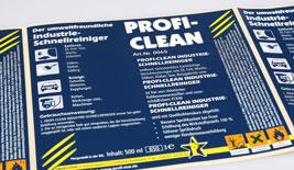 Klebeetiketten für chemische Produkte.