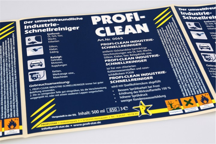 Lables Chemieetikett Profi Clean
