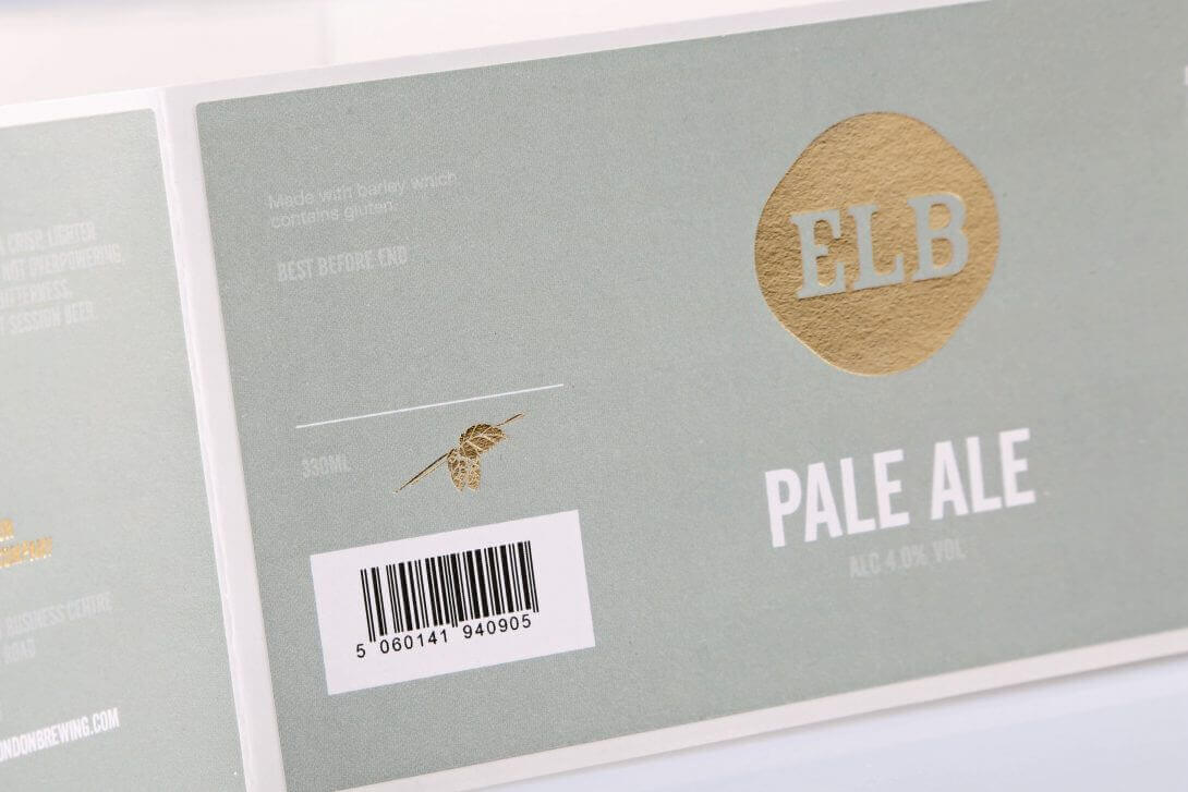 Elb Pale Ale Rollenetikett veredelt gold praegung Praegeetiketten