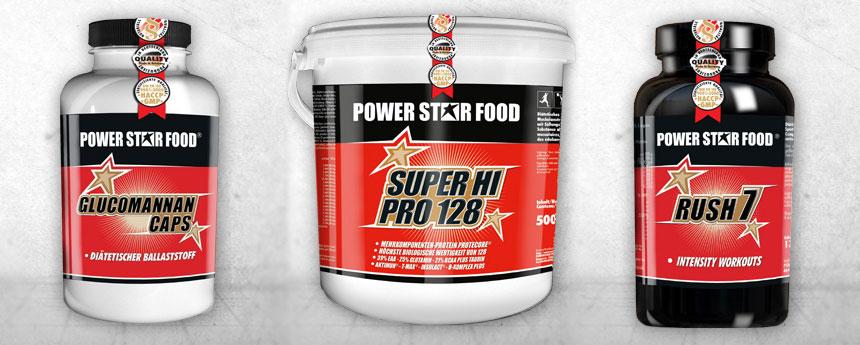 Nahrungsergänzungsmittel Rollenetikett Power Star Food
